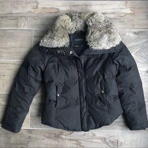 Club Monaco Black Winter Jacket down & real fur